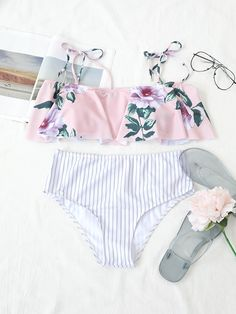 f146e3b74a47b Frigirl Floral Printed Pink Two-piece Swimwear  frigirl  swimwear  swimsuits