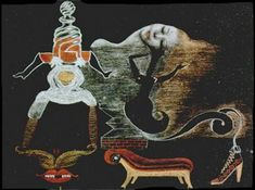 """Cadavre Exquis (Valentine Hugo/Andre Breton/Tristan Tzara/Greta Knutson) - """"Landscape"""", circa 1933 - Colored pencil on black paper x cm. - Collection of MoMA, New York. On view in """"Exquisite Corpses: Drawing and Disfiguration"""" until July Tristan Tzara, Man Ray, Photomontage, Andre Breton, Surrealist Manifesto, Yves Tanguy, Collages, Exquisite Corpse, Pochette Album"""