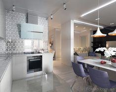 Белый цвет в интерьере не только зрительно расширяет пространство, но и служит отличным фоном для ярких предметов декора. Освещение в квартире стало воздушным и довольно графичным благодаря трековым светильникам. Скрытая подсветка на белом фоне создала о…