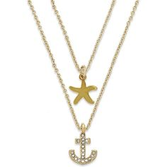 Abs by Allen Schwartz Gold-Tone Crystal Anchor and Starfish Layered... ($23) ❤ liked on Polyvore featuring jewelry, necklaces, accessories, gold, dangle necklace, crystal charm necklace, multi layer necklace, charm jewelry and anchor necklace