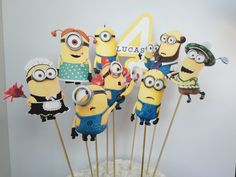 Personalized Minions Center Pieces by YulisCraft on Etsy https://www.etsy.com/listing/242543625/personalized-minions-center-pieces
