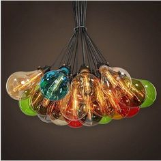 Industrial Retro Multi Color Bulb Shape Glass Lampshade Pendant Ceiling Light