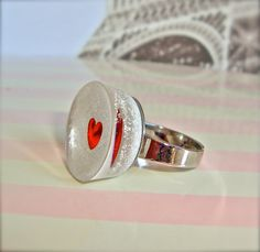 White and red heart resin ring  small white by sparklecityjewelry