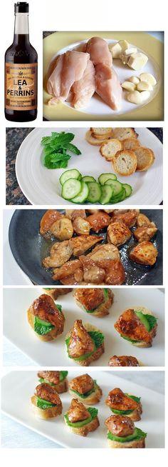 Cách làm bánh Crostino gà với lá bạc hà