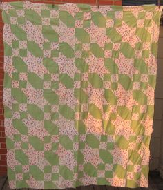 Vintage Quilt Top  Anvil Pattern Patchwork by forgottenpearls.  Another feedsack quilt top, but unusually planned with coordinating sacks (probably purchaced at the same time and probably Depression era)