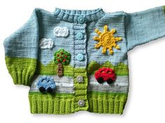 Crochet Patterns Boy Knitting pattern baby jacket in 4 sizes – On the road Kids Knitting Patterns, Knitting For Kids, Knitting Designs, Baby Patterns, Crochet Patterns, Crochet Bebe, Crochet For Boys, Baby Cardigan, Baby Sweaters