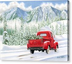 Christmas Truck Greeting Card featuring the painting The Road Home by Sarah Batalka Christmas Red Truck, Merry Christmas, Christmas Scenes, Christmas Lights, Vintage Christmas, Christmas Wreaths, Christmas Decorations, Christmas Ornaments, Christmas Ideas