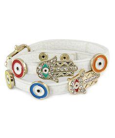 Look at this #zulilyfind! Gold & White Hamsa & Evil Eye Adjustable Bracelet by MOA International Corp #zulilyfinds