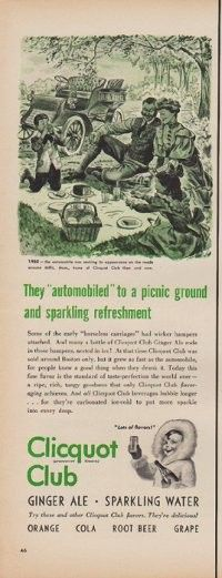 """Description: 1950 CLICQUOT CLUB vintage print advertisement """"They """"automobiled"""" to a picnic ground and sparkling refreshment"""" """"1902 -- the automobile was making its appearance on the roads around Millis, Mass., home of Clicquot Club then and now. Ginger Ale * Sparkling Water"""" Size: The dimensions of the half-page advertisement are approximately 5.5 inches x 14 inches (14 cm x 36 cm). Condition: This original vintage advertisement is in Very Good Condition unless otherwise noted."""