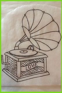 Victrola Record Player outline Unique Tattoos, Beautiful Tattoos, Record Player Tattoo, Sun Tattoos, Neo Traditional Tattoo, Future Tattoos, Tattoo Inspiration, Hand Lettering, Coloring Pages