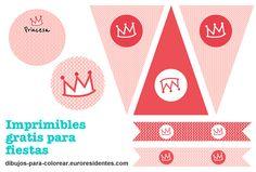 Princess Party. Imprimibles gratis para fiesta de princesas. http://dibujos-para-colorear.euroresidentes.com/2013/03/decoracion-fiestas-de-princesas.html