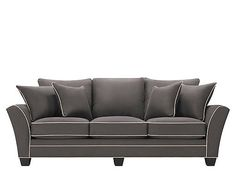 Perusing for the perfect sofa? Look no further than this attractive Briarwood microfiber sofa in slate with taupe welt. It will enrich your living room with its clean lines and dark wood. Plus, the sofa's 100% polyester microfiber fabric is perfect for families because it's soft, extremely stain resistant and easy to clean.