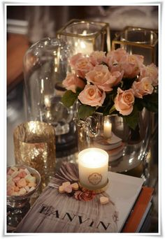 Pretty feminine coffee table decor