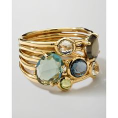 18k Gold Rock Candy Gelato 6-Stone Cluster Ring