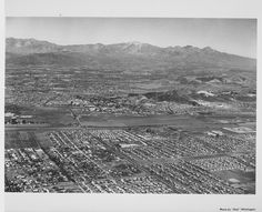 Aerial 1963 of La Puente, West Covina looking northeast towards the San Gabriel Mts.