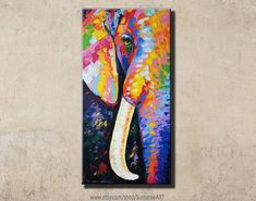 Colorful elephant painting acrylic on canvas wall decor by artist Sumaree Nunsang from Thailand. The painting not ready to hang, It is no frame. This is hand painted not a print. The paintings were copy from one piece to another, not an original one. Canvas size: 48x98 cm (width 48 cm,