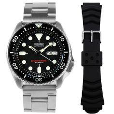 SKX007J1 Seiko Dive Watch Seiko Automatic Watches, Seiko 5 Sports Automatic, Seiko Watches, Scuba Diving Watches, Sport Watches, Watches For Men, Authentic Watches, Seiko Diver, Seiko Men