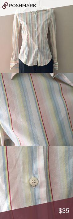 "Zara Pastel button down shirt. Size small Excellent condition Zara Pastel button down shirt. Size small  23"" long. Cotton/nylon/spandex Zara Tops Button Down Shirts"