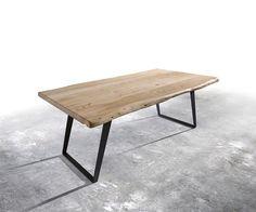 Baumtisch Live-Edge 200x100 Akazie Gebleicht Platte 5,5cm Gestell schräg Möbel Tische Esstische