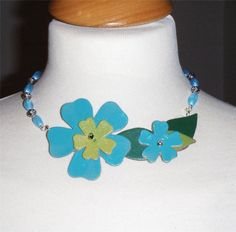"""Turquoise flower necklace, leather flowers & leaves on glass beads 16"""" long (41cm)"""