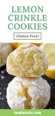 Gluten Free Lemon Crinkle Cookies Looking for a simple dessert recipe? These lemon crinkle cookies are ridiculously simple and full of lemon flavor. With an almond flour base, they are also gluten-free. A bite-size lemon treat, perfect for any occasion! Easy Gluten Free Desserts, Gluten Free Cookies, Gluten Free Baking, Easy Desserts, Simple Dessert Recipes, Delicious Desserts, Lemon Desserts, Lemon Recipes, Sweet Recipes