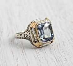 Antique Art Deco 14K White Gold Filigree Ring - 1920s Synthetic Alexandrite, Seed Pearl Rose Gold Flower Fine Jewelry - Color Changing Gem by Maejean Vintage on Etsy, $625.00