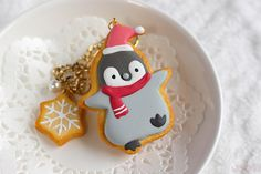Winter Penguin bag Charm