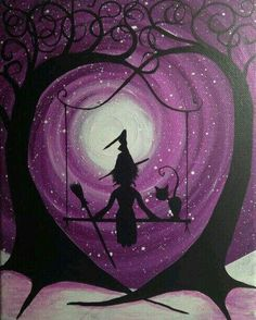 Good for getting in the spirit of Halloween. Halloween Painting, Halloween Drawings, Halloween Pictures, Halloween Art, Halloween Canvas Paintings, Witch Painting, Halloween Illustration, Acrylic Paintings, Adornos Halloween
