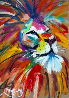 ABSTRACT ORIGINAL COLORFUL Lion PAINTING 5X7 IN. LION FACE MARC BROADWAY in Art, Direct from the Artist, Paintings | eBay