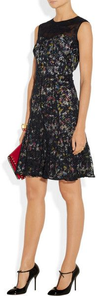Erdem Ruby Printed Silk Crepe De Chine and Cottonblend Lace Dress in Multicolor (Blue) - Lyst