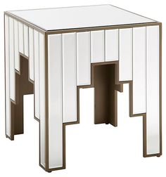 Amber Mirrored Side Table, Silver