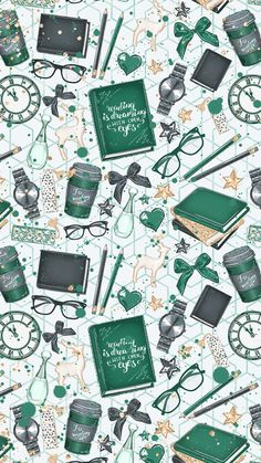 cute | green | books | wallpaper