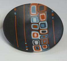 Bullseye Glass, Fused, Slumped, Coldworked, Sandblasted black base, burnt orange, white, blues, black