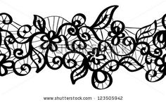 Seamless black lace with floral pattern - stock photo