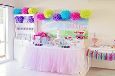 My Little Pony Party for Girls but instead of rainbow, just hot pink, black, white and grey