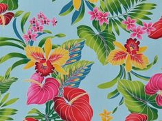 CAA0044 - 100% Cotton Fabric: All-Over Hawaiian Print Fabric