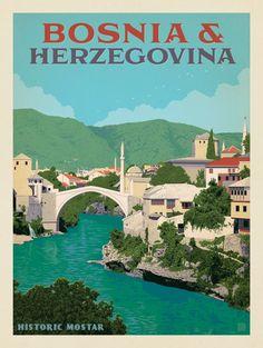 Vintage Travel Anderson Design Group – World Travel – Bosnia Herzegovina - Tourism Poster, Voyage Europe, Travel Illustration, Vintage Travel Posters, Illustrations And Posters, Travel Destinations, Places To Go, Poster Prints, Scene Hairstyles