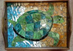 """""""Sea turtle stained glass mosaic tray. $100.00, via Etsy."""""""