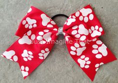 3 Width Cheer Bow 7x6.5 Texas Size Cheer Bow Red with White Glitter Paw Prints by JustImagineThatBows, $5.75