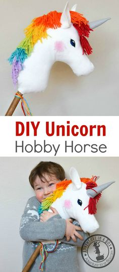 DIY Felt Rainbow Unicorn Hobby Horse: Easy to make toy project! Perfect handmade gift for little girls and boys. Free printable pattern is included. gifts for kids homemade toys DIY Rainbow Unicorn Hobby Horse Hobbies To Try, Hobbies And Crafts, Cheap Hobbies, Unicorn Hobby Horse, Diy For Kids, Gifts For Kids, Finding A Hobby, Unicorn Crafts, Little Girl Gifts