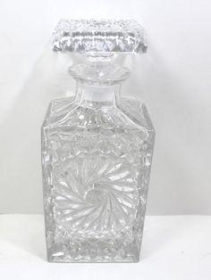 "Vintage Heavy Glass Decanter Pinwheel Design 9 1/2"" Tall #Unbranded Pinwheels, Decanter, Vintage Items, Perfume Bottles, Vase, Store, Ebay, Design, Carafe"