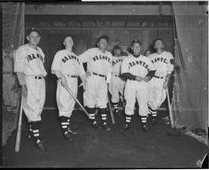 Boston Braves Buck Jordan, Elbie Fletcher, Babe Ruth, and three unknown Boston Braves at indoor batting cage at Harvard 1935.