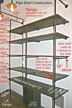 Show Off DIY pipe shelf construction- this might be the perfect solution for a cheap, large storage/ desk space in my office.DIY pipe shelf construction- this might be the perfect solution for a cheap, large storage/ desk space in my office. Diy Pipe Shelves, Industrial Pipe Shelves, Pipe Shelving, Industrial Closet, Shelving Units, Wood Shelves, Industrial Style, Galvanized Pipe Shelves, Pipe Bookshelf