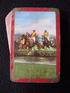 """VINTAGE 1930's PACK OF BEZIQUE PLAYING CARDS - HORSE RACING - """"THE WATER JUMP""""  
