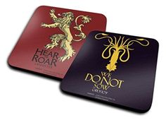 Set Of 2 Coasters: Game Of Thrones - House Greyjoy, We Do Not Sow + Hear Me Roar, Lannister (4x4 inches)
