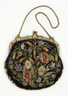 Woman's Handbag France, circa Silk embroidery, gilded metal 7 x 7 in. x cm) Gift of Anita S. Vintage Purses, Vintage Bags, Vintage Handbags, Vintage Soul, Hobo Purses, Purses And Handbags, Leather Handbags, Beaded Purses, Beaded Bags
