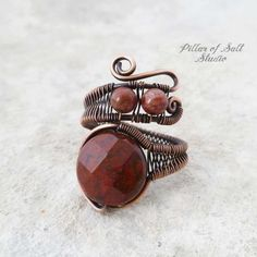 Red Poppy Jasper copper wire wrapped ring by Pillar of Salt Studio Copper Rings, Copper Jewelry, Wire Jewelry, Copper Wire, Bohemian Jewelry, Boho, Beaded Jewelry, Handmade Rings, Handmade Copper