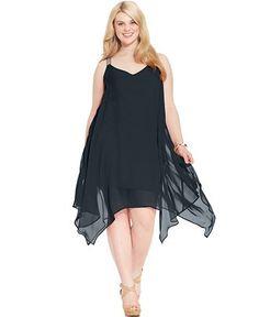 04e32cea34d Love Squared Plus Size Handkerchief-Hem Chiffon Dress Plus Sizes - Dresses  - Macy s