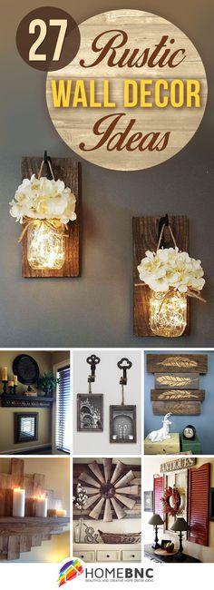 27 Rustic Wall Decor Ideas to Turn Shabby into Fabulous Love the mason jar lights or the keys with picture frames Rustic Wall Decor, Rustic Walls, Country Decor, Farmhouse Decor, Kitchen Wall Decorations, Rustic Livingroom Ideas, Wall Decor For Kitchen, Christmas Wall Decorations, Rustic Living Room Decor