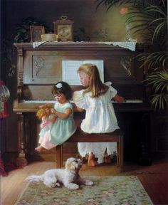 Hi Donna, I have always loved this painting by Greg Olsen. It reminds me of when I practiced at the piano with my sister beside me. Hope you had a good day Donna. Greg Olsen Art, Arte Lds, Creation Image, Piano Art, Lds Art, Gallery Website, Gif Animé, Animation, Illustrations